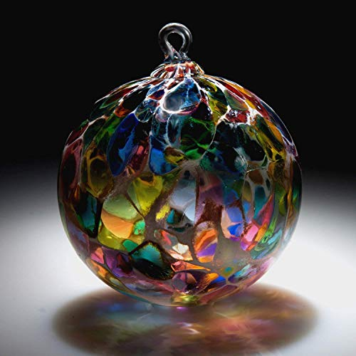 Ornament. Sun catcher. Hand blown Fine Art Glass Ornament in Magic White Powder Made in Seattle. Artist Dehanna Jones. ()