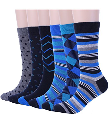Mens Blue Dress Crew Socks Funky Argyle Stripe Patterned Designs 6 Pair, One Size Mens Argyle Pattern Socks