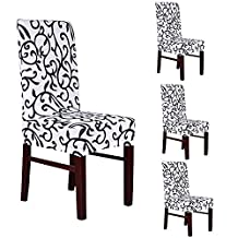 Deisy Dee Stretch Removable Washable Short Dining Chair Protect Covers Slipcover (Pack of 4) (black and white)