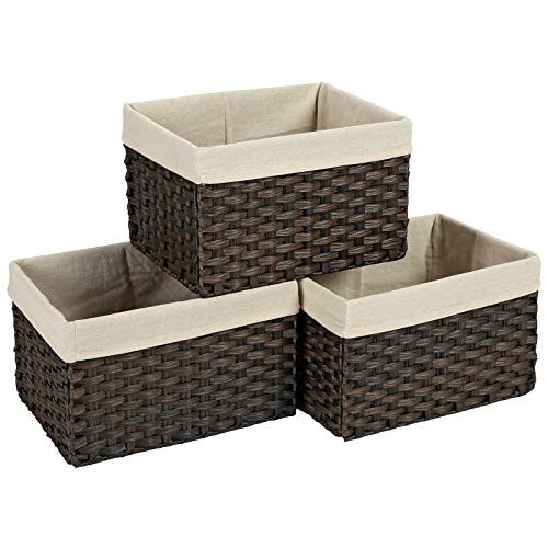 SONGMICS Set of 3 Rattan-Style Storage Bins, Indoor Collapsible Storage Baskets, Toy Organizers, 30L Decorative Bins with Liner and Handles, Bedroom Closet Laundry Room, Brown URRB225BR (Rattan Bins)