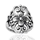 925 Sterling Silver 19 mm Floral Filigree Flower Polished Finish Wide Band Ring - Nickel Free