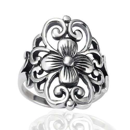 - Chuvora 925 Sterling Silver 19 mm Floral Filigree Flower Polished Finish Wide Band Ring - Nickel Free Size 9