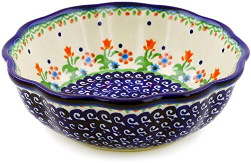 Polish Pottery 6¾-inch Fluted Bowl (Spring Flowers Theme) + Certificate of Authenticity