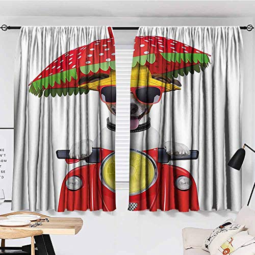 Paddy Benedict Blackout Curtains for Bedroom,W84 x L84,Darkening and Thermal Insulating Draperies Animal,Dog with a Hat and Sunglasses Driving Motorcycle Under an Umbrella Funny Holiday ()