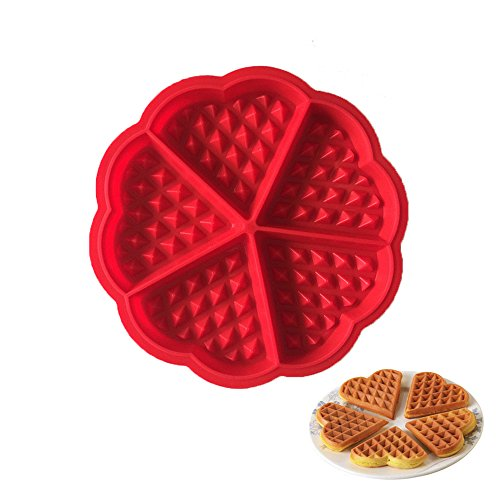Rely2016 Silicone Waffle Mold Maker Pan Microwave Baking Cake Muffin Bakeware Mold Tool Heart Shape (5 ()