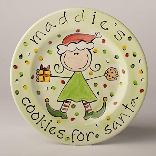 Cookies for Santa Personalized Ceramic Plate for Girl (Personalized Cookies For Santa Plate)