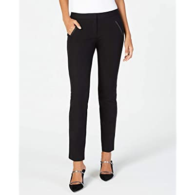 Alfani Faux-Leather-Trim Slim-Leg Pants, Size 6, Deep Black at Amazon Women's Clothing store