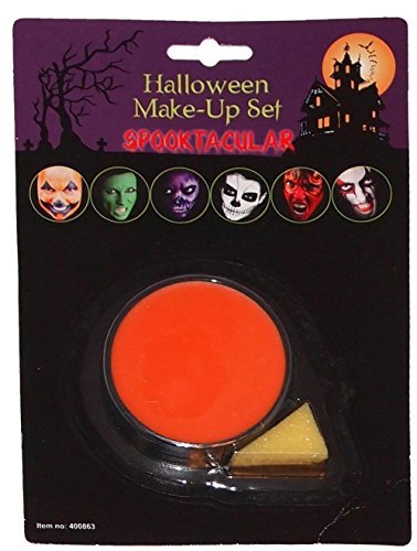 Unisex Adult Base Make Up with Applicator & Sponge Halloween Scary Horror Parties Accessories (Orange) by N&L Private LTD by N&L Private LTD