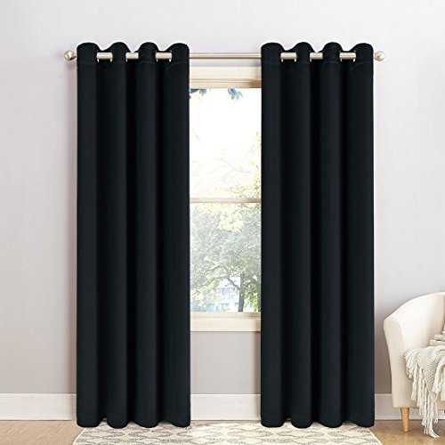 Maevis Blackout Curtains 2 Panels for Bedroom Window Treatment Thermal Insulated Solid Grommet Blackout Drapes for Living Room (Black, 52-Inch-by-95-Inch) - Discount Curtains Window Treatments