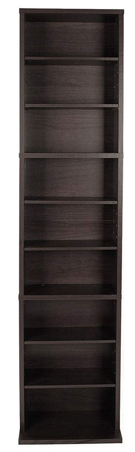 Arenvo Multimedia Storage Rack Organizer Home Display Holder, Shelf Storage Organizer, Modern Design Tall Construction with 3 Fixed and 5 Adjustable Shelves, Multimedia Wooden Rack by Arenvo