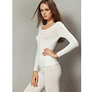 Liang Rou Women's Scoop Neck Long Johns Ultra Thin Thermal Underwear Set Off-White M
