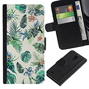 All Phone Most Case / Oferta Especial Cáscara Funda de cuero Monedero Cubierta de proteccion Caso / Wallet Case for Samsung Galaxy S4 IV I9500 // Painting Rainforest Bird Colorful