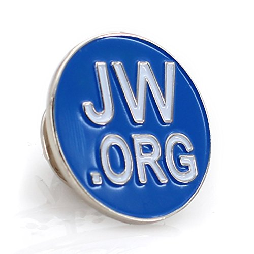 "Jehovah Witness - 3/4"" Round Blue Lapel Pin - JW.org Neck Tie Hat Tack Clip Women or Men Suits (5 Pcs in Package) (Silver-Plated)"