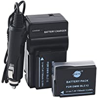 DSTE 2x DMW-BLC12 Battery + DC114 Travel and Car Charger Adapter for Panasonic Lumix DMC-G5 G6 G7 GH2 GX8 FZ200 DMC-FZ2500 DMC-FZ2000 Leica Q Camera as DMW-BLC12E BP-DC12E