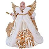 The Christmas Workshop 82050  30 cm (12-Inch) Traditional Top Angel Christmas Tree, Cream/Gold