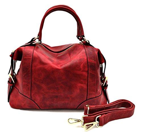 La Poet Women's Waxed Cowhide Hobo Satchel Shoulder Bag (Burgandy) by La Poet