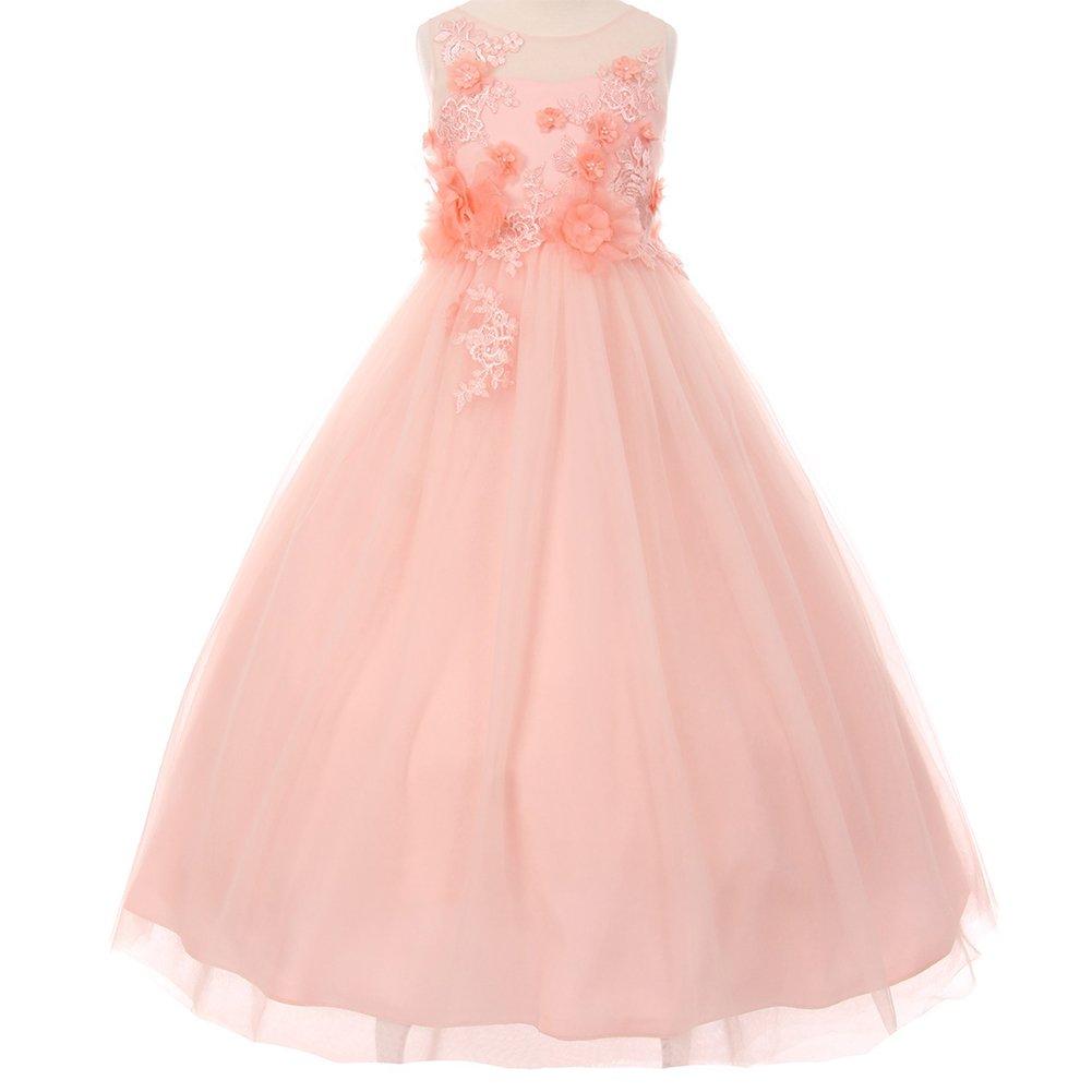 Big Girls Illusion Sleeveless Raised Flowers Embellishment Lace Floor Length A-Line Dress Blush - Size 16
