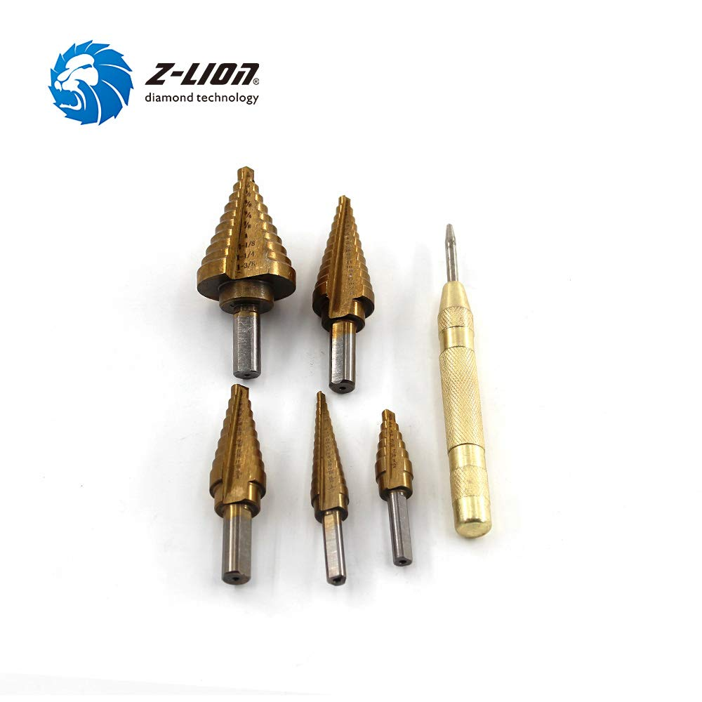 Total 50 Sizes 5-Piece Set Titanium Step Drill Bit Set with Automatic Center Punch High Speed Steel