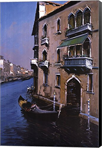 Grand Canal Canvas Art Wall Picture, Museum Wrapped with Bla