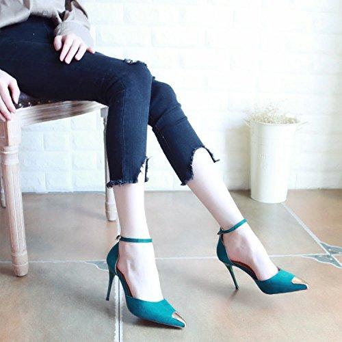 Xue Qiqi Tribunal Zapatos Sandalias Zapatos de Baile Correa ranurada Hollow Bellas Mujeres Zapatos con Tacones de Metal con Punta de luz única Hembra Zapatos El verde