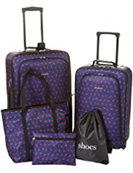 CIAO! 5-pc. Flamingo Print Luggage Set One Size Navy/pink