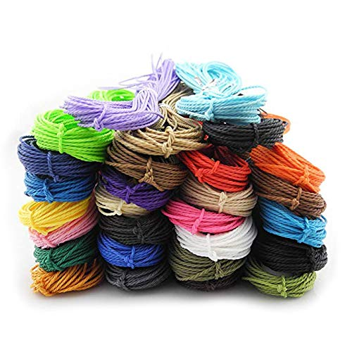 Inspirelle 28-Color 1mm Taiwan Waxed Polyester Twine Cord Macrame Bracelet Thread Artisan String for Jewelry Making 10m Each Color