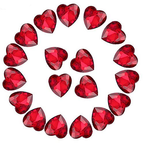 Crystal Rhinestones 50pcs AB Crystals Pointback Heart Glass Rhinestone for DIY Crafts Jewelry Making,12mm,Red (Gem Stone Hearts)