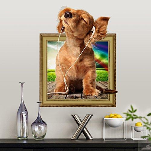 Smartcoco DIY Creative 3D Dog Wall Sticker Kawaii Vivid Removable 3D Hole Puppy Wall Decals Kid Room Living Room Bedroom Decors