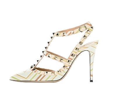 d3615b89204 Guoar Women s Stiletto Heel Big Size Dress Sandal Gladiator Studded Pointed  Toe Ankle Strap Cut-