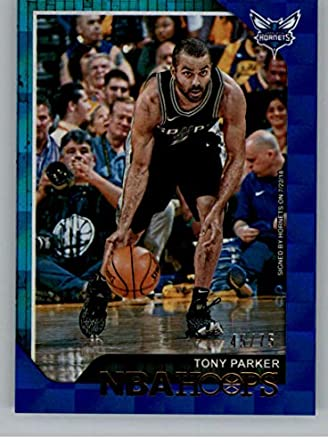 0507ce4f2b1f 2018-19 NBA Hoops Blue Checkerboard  63 Tony Parker SER75 Charlotte Hornets  Official Basketball
