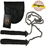 Paracord Pocket Chainsaw 36 Inch Long Chain. Best Compact Folding Hand Saw Tool for Survival Gear, Camping, Hunting, Tree Cutting or Emergency Kit. Replaces Your Pruning & Pole Saw