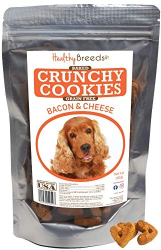 - Healthy Breeds Baked Grain Free Dog Treats - Bacon & Cheese Crunchy Cookies for Cocker Spaniel - Over 200 Breeds -Baked with Natural Ingredients - 6 oz, Brown