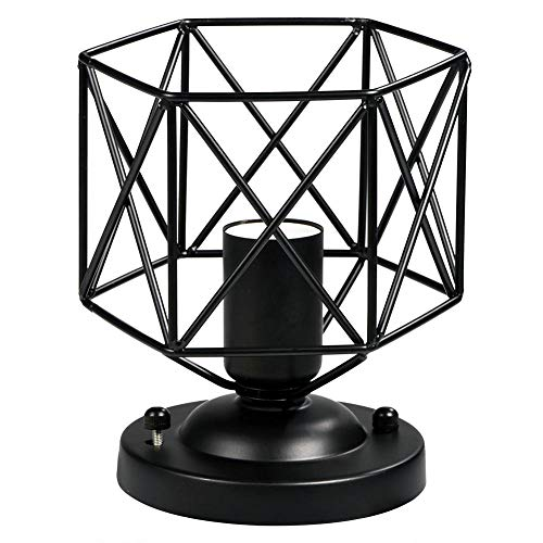 Industrial Vintage Metal Ceiling Light Holder, E26 Black Rustic Mini Pendant Lighting Lamp Fixtures Unique Geometric Shape Cage Chandelier Bulb for Country Hallway Kitchen Garage Porch Hotel Cafe