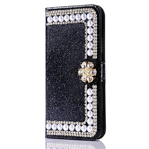 Bling iPhone Xs Max Case,iPhone Xs Max Case, BZCTAH iPhone X Wallet Case Premium Soft PU Leather Flip Cover with Pearl and Crystal Luxury Shiny Bling Case for Apple iPhone Xs Max, Black