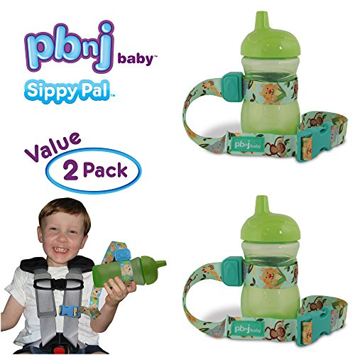 PBnJ Baby SippyPal Sippy Cup Holder Strap Leash Tether (Jungle 2-Pack) -
