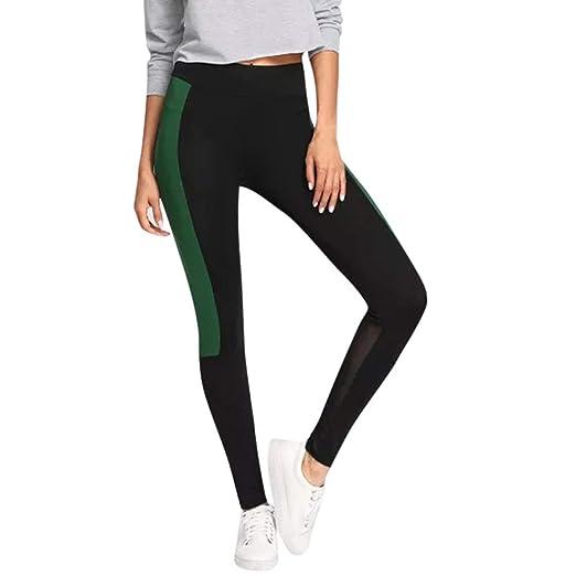 dcab8ca4137b6 JESPER Women Voile Stitching Color Block Leggings 4 Way Stretch Slim Yoga  Pants Green