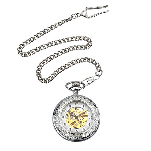 Zeiger New Mens Classic Mechanical Steampunk Pocket Watch, Stainless Steel Copper Case Skeleton Roman Design, Pocket Watch With Chain (Silver) (Punk Pocket Watch)