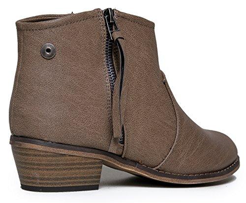 Western DORADO 11 Breckelle's Ankle Bootie Boot Zip Inspired 11 Beige up EHExCqw