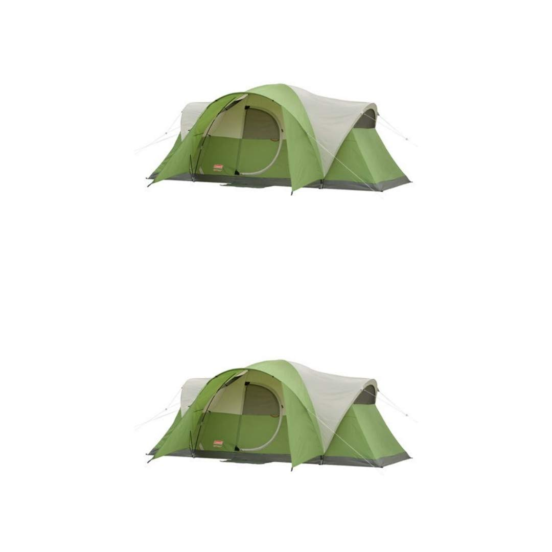 Coleman 8-Person Tent for Camping | Elite Montana Tent with Easy Setup (Green, 2 Count)