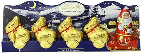 Chocolate Reindeer - Lindt Holiday Milk Chocolate Santa and Reindeer Figure, Hollow, 1.7 oz, (Pack of 14)