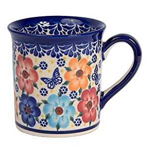 Traditional Polish Pottery, Handcrafted Ceramic Funnel-shaped Mug (300ml / 10.5 fl oz), Boleslawiec Style Pattern, Q.301.MEADOW