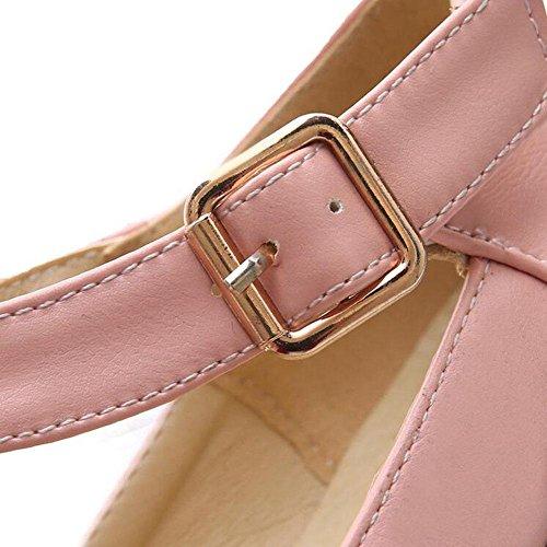 Retro White Woman Pumps Blue Shoes Pink Roman Pink GLTER Court Sandals EFCqwx