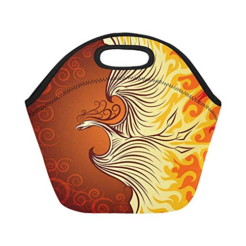 InterestPrint Lunch Bags Flying Phoenix Bird Lunch Bag Lunch Box Lunch Tote For Adult Teens Men Women