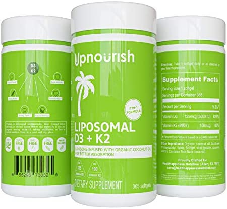 Liposomal Vitamin D3 K2 MK7-365 Softgels | VIT D3 5000 IU + K2 100 mcg with Organic Coconut Oil - K2 D3 Vitamin Supplement - Vitamin D and Okay Support Immune, Bone, Heart, Mood - Non GMO Gluten Free