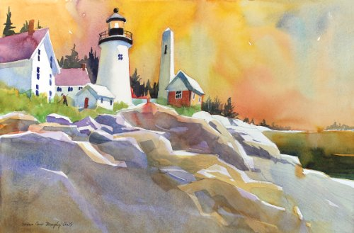 Pemaquid Light, Giclee Print of a Seascape Watercolor Painting,