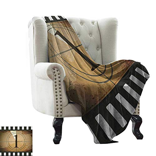 Cool Blanket Movie Theater,Grunge Countdown Frame with The Number 1 in a Circle Film Strip, Pale Brown Black White Cozy Blanket for Couch Sofa Bed Beach Travel 50