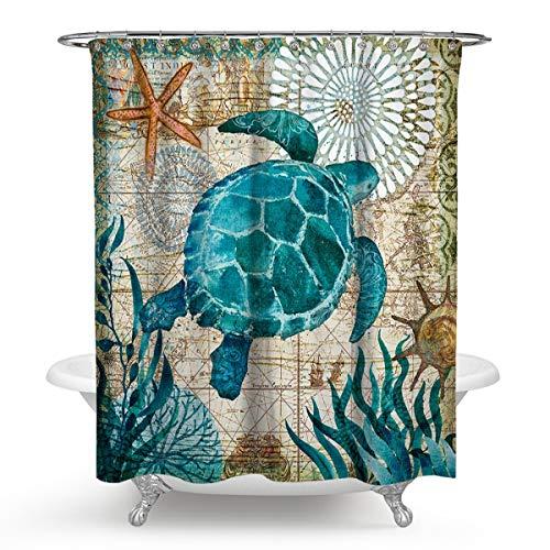 Window Flowers Sea Turtles Waterproof Bathroom Shower Curtain Toilet Cover Mat Non-Slip Rug Set