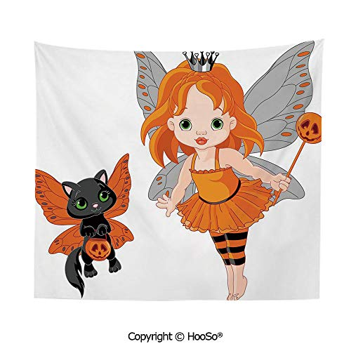 Durable Washable and Reusable Tapestry Wall Hanging Carpet 59x79in,Halloween Baby Fairy and Her Cat in Costumes Butterflies Girls Kids Room Decor Decorative,Multicolor Comfy and No Strange Odor Home