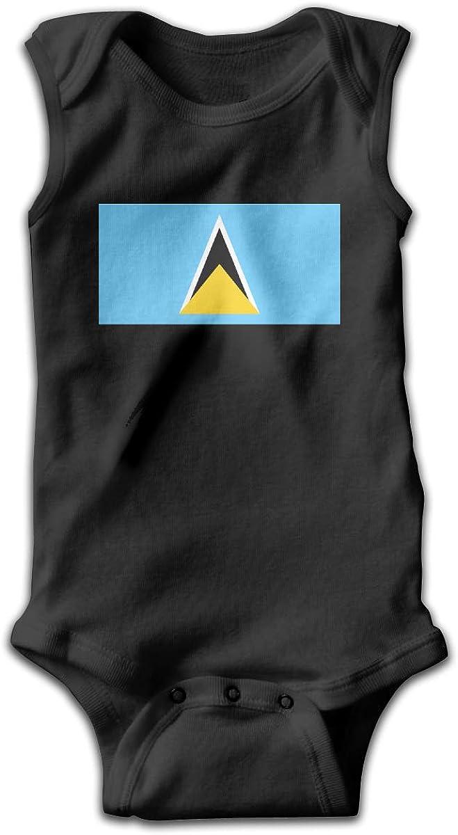 UyGFYytg Flag of Saint Lucia Baby Newborn Crawling Suit Sleeveless Onesie Romper Jumpsuit Black