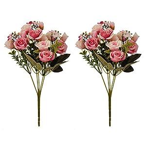 LiangGui Artificial Rose Silk Flowers Bouquet,Wedding Floral Decor Home Decor 11